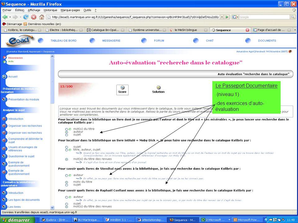 19 juin 2007 SCD-Université Antilles Guyane - Marie France Grouvel / H.Chasserieau Le Passeport Documentaire (niveau 1) -des exercices dauto- évaluati