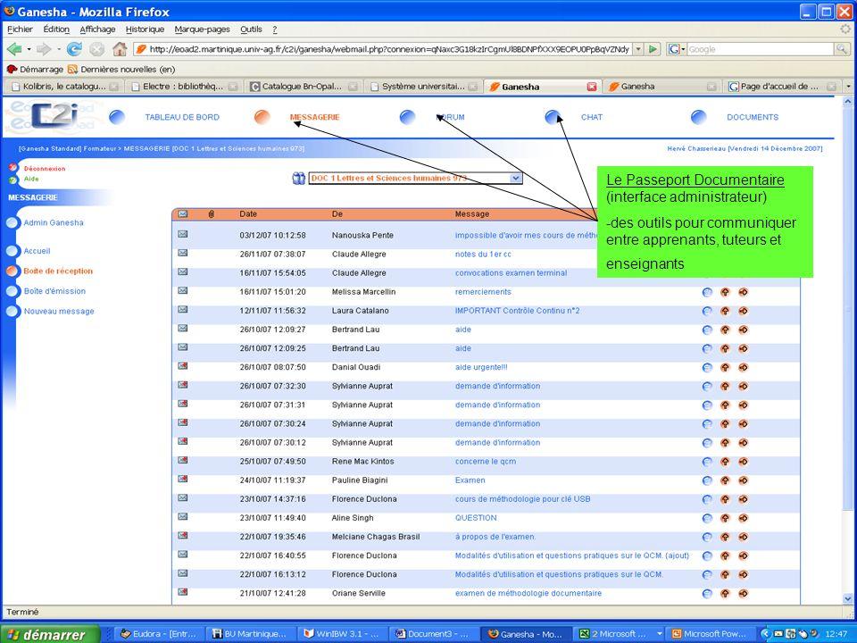 Le Passeport Documentaire (interface administrateur) -des outils pour communiquer entre apprenants, tuteurs et enseignants