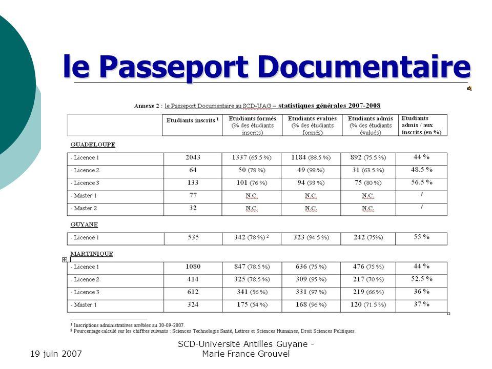 19 juin 2007 SCD-Université Antilles Guyane - Marie France Grouvel / H.Chasserieau le Passeport Documentaire bilan les contenus de formation laccessibilité aux cours limplication des composantes