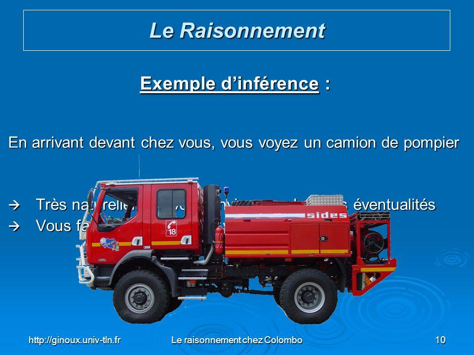 http://ginoux.univ-tln.frLe raisonnement chez Colombo10 Exemple dinférence : En arrivant devant chez vous, vous voyez un camion de pompier Très nature