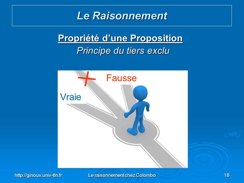 http://ginoux.univ-tln.frLe raisonnement chez Colombo18 Propriété dune Proposition Principe du tiers exclu Principe du tiers exclu Le Raisonnement Vra