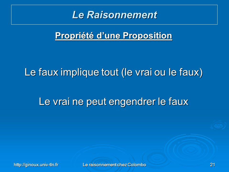 http://ginoux.univ-tln.frLe raisonnement chez Colombo21 Propriété dune Proposition Le faux implique tout (le vrai ou le faux) Le vrai ne peut engendre