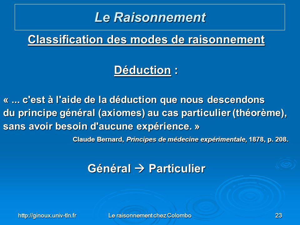 http://ginoux.univ-tln.frLe raisonnement chez Colombo23 Classification des modes de raisonnement Déduction : «... c'est à l'aide de la déduction que n