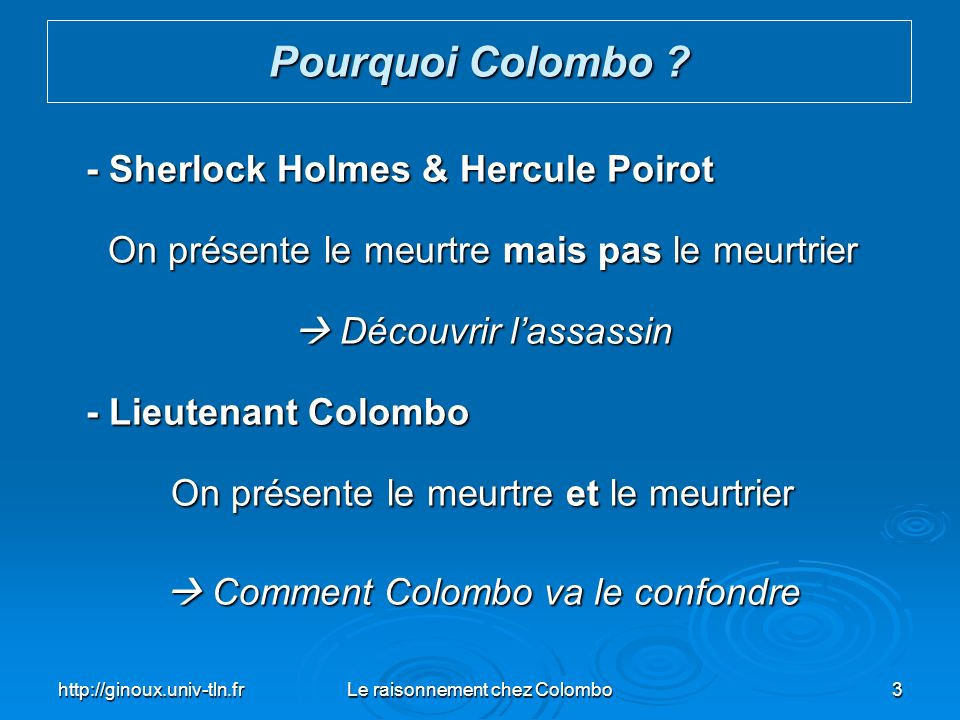 http://ginoux.univ-tln.frLe raisonnement chez Colombo34 Le mode principal de raisonnement de Colombo est linduction ou lanalyse Le Raisonnement chez Colombo Crime Assassin Induction analyse déduction synthèse