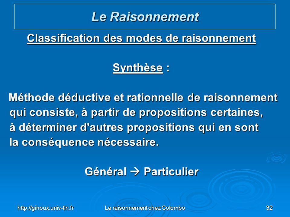 http://ginoux.univ-tln.frLe raisonnement chez Colombo32 Classification des modes de raisonnement Synthèse : Méthode déductive et rationnelle de raison