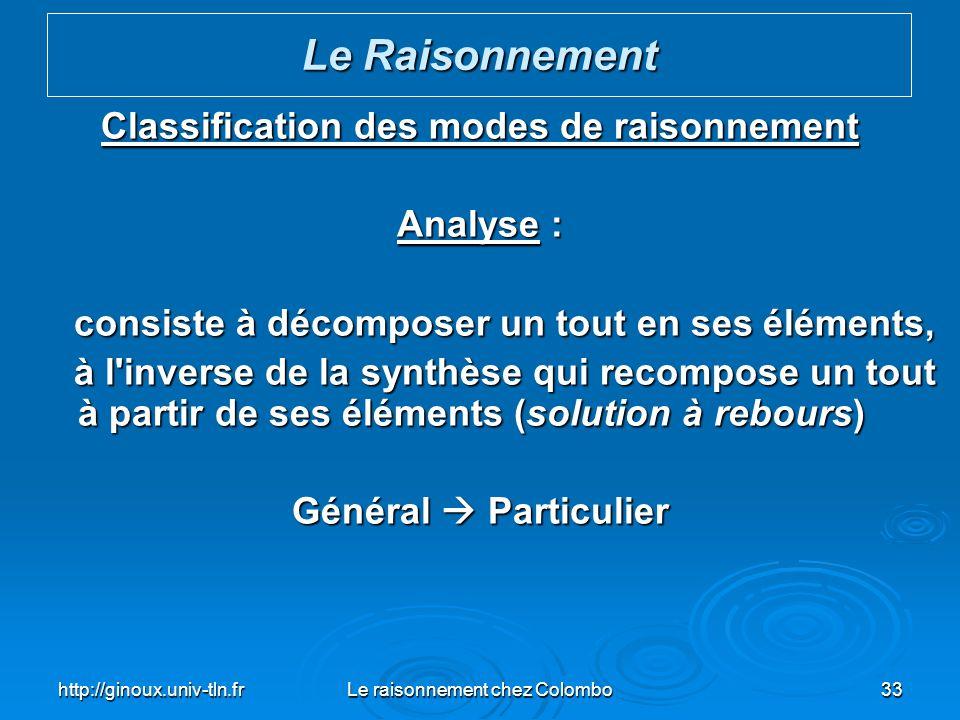 http://ginoux.univ-tln.frLe raisonnement chez Colombo33 Classification des modes de raisonnement Analyse : consiste à décomposer un tout en ses élémen