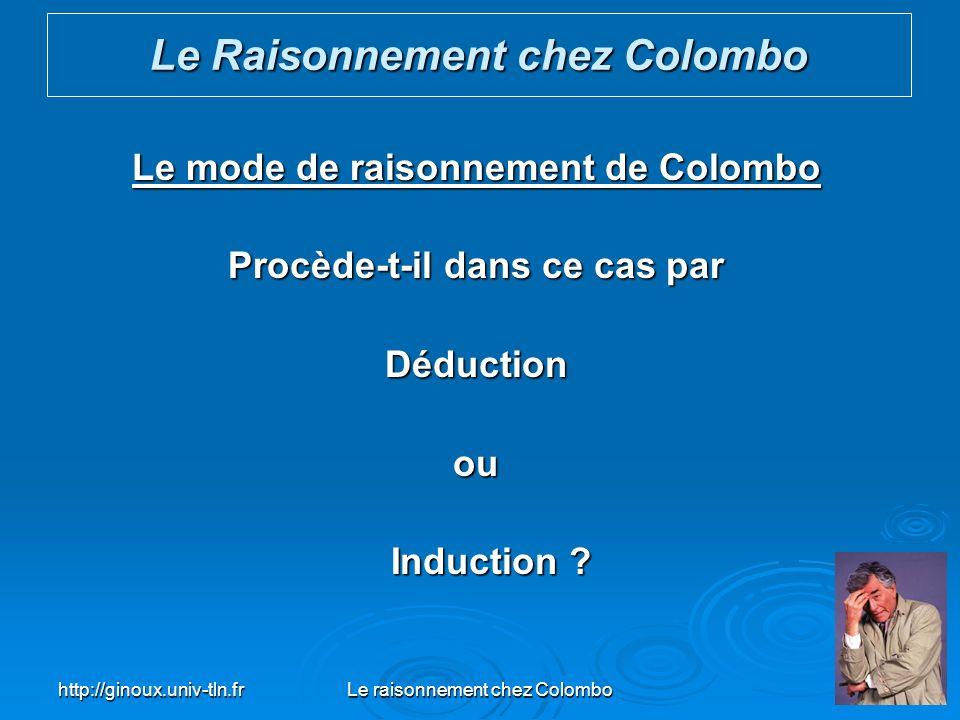 http://ginoux.univ-tln.frLe raisonnement chez Colombo36 Le mode de raisonnement de Colombo Procède-t-il dans ce cas par Déductionou Induction ? Induct