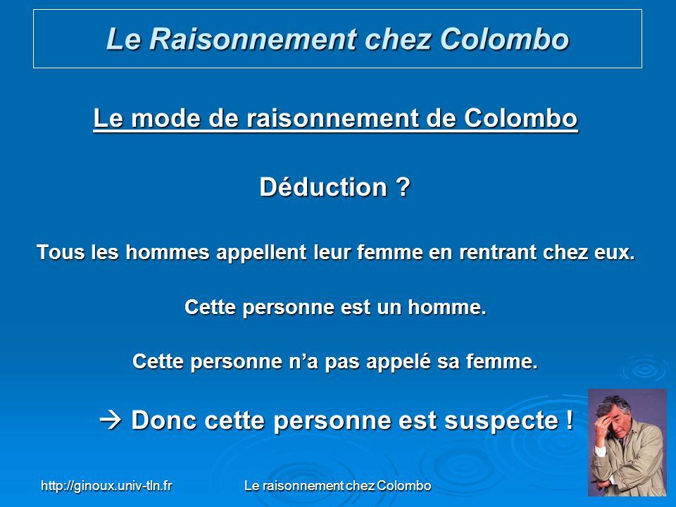http://ginoux.univ-tln.frLe raisonnement chez Colombo37 Le mode de raisonnement de Colombo Déduction ? Tous les hommes appellent leur femme en rentran