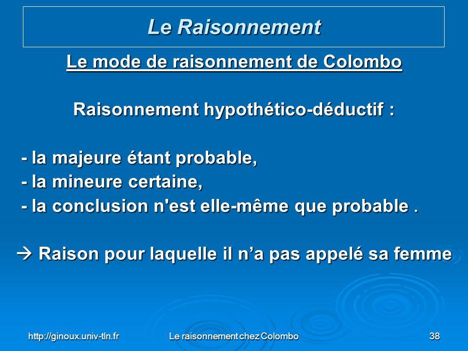 http://ginoux.univ-tln.frLe raisonnement chez Colombo38 Le mode de raisonnement de Colombo Raisonnement hypothético-déductif : - la majeure étant prob
