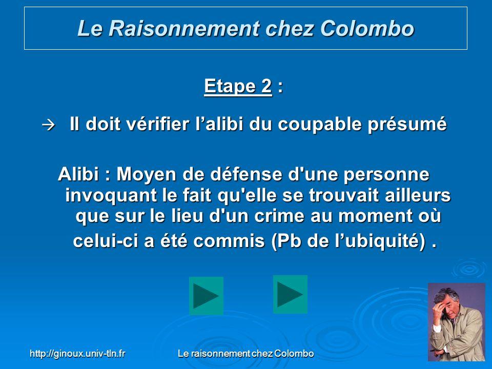 http://ginoux.univ-tln.frLe raisonnement chez Colombo39 Etape 2 : Il doit vérifier lalibi du coupable présumé Il doit vérifier lalibi du coupable prés