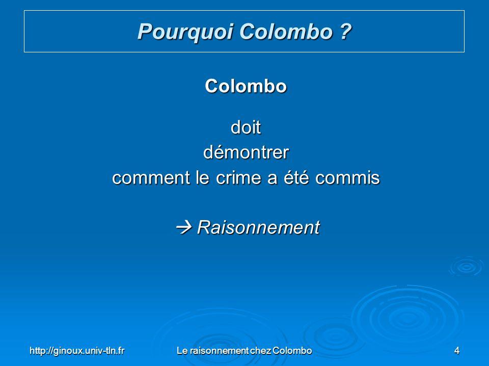 http://ginoux.univ-tln.frLe raisonnement chez Colombo25 Exemple de déduction (syllogisme) : Le Raisonnement Majeure Tous les haricots de ce sac sont blancs.