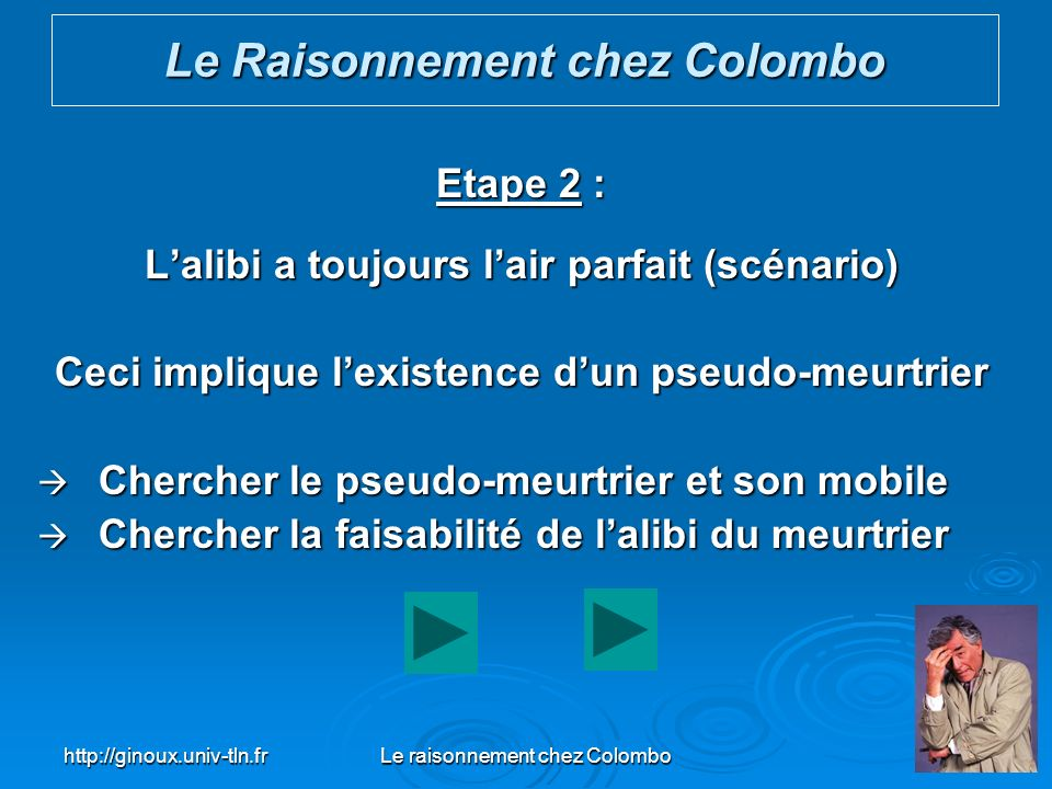 http://ginoux.univ-tln.frLe raisonnement chez Colombo40 Etape 2 : Lalibi a toujours lair parfait (scénario) Ceci implique lexistence dun pseudo-meurtr