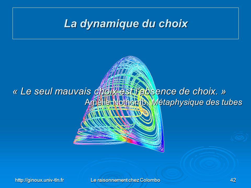 http://ginoux.univ-tln.frLe raisonnement chez Colombo42 La dynamique du choix « Le seul mauvais choix est l'absence de choix. » « Le seul mauvais choi