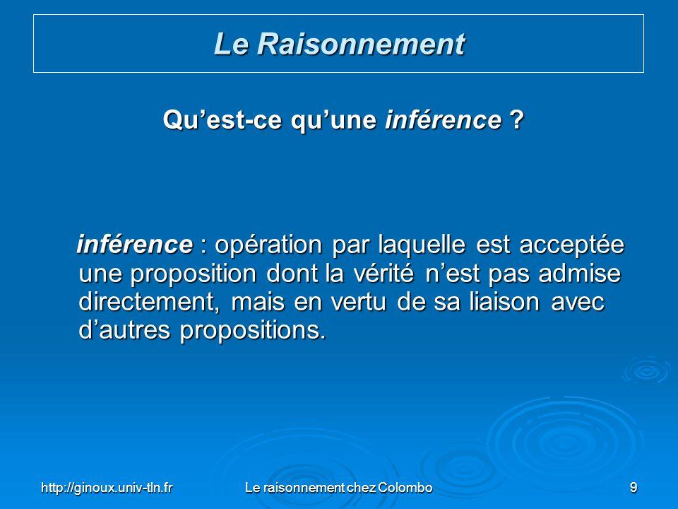 http://ginoux.univ-tln.frLe raisonnement chez Colombo9 Quest-ce quune inférence ? inférence : opération par laquelle est acceptée une proposition dont