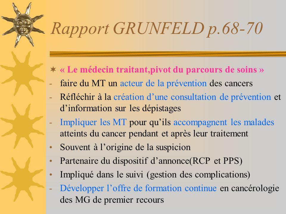 Rapport GRUNFELD p.68-70 « Le médecin traitant,pivot du parcours de soins » - faire du MT un acteur de la prévention des cancers - Réfléchir à la créa