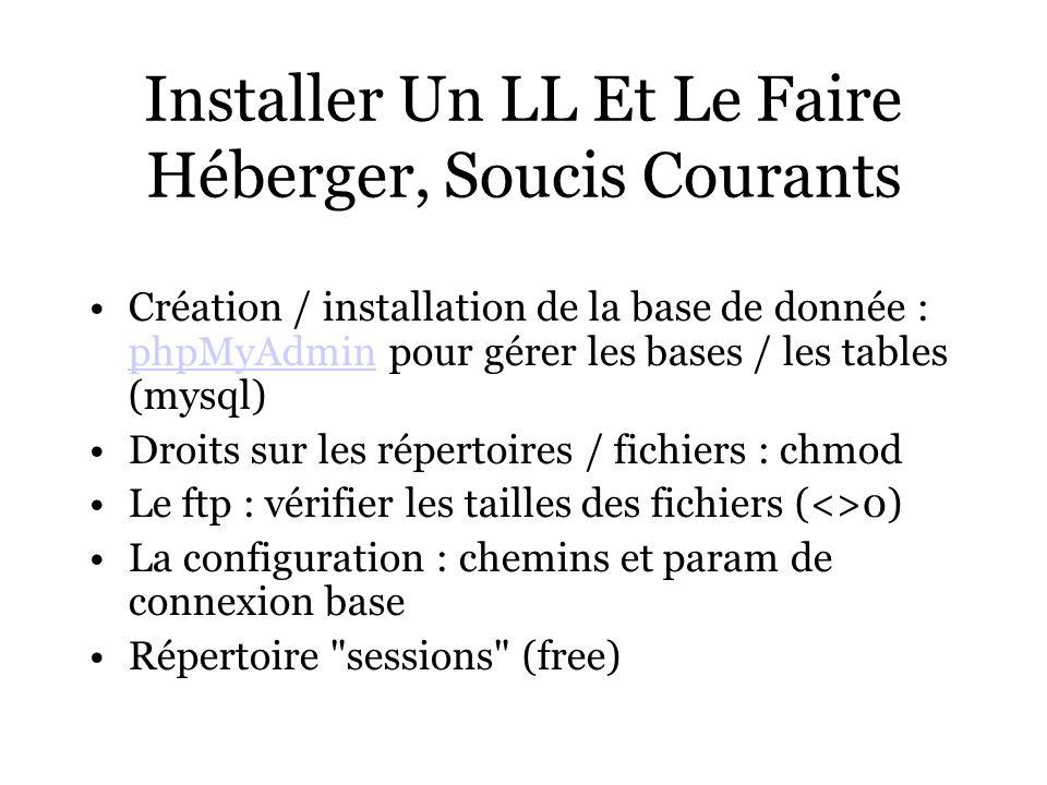 Installer Un LL Et Le Faire Héberger, Soucis Courants Création / installation de la base de donnée : phpMyAdmin pour gérer les bases / les tables (mysql) phpMyAdmin Droits sur les répertoires / fichiers : chmod Le ftp : vérifier les tailles des fichiers (<>0) La configuration : chemins et param de connexion base Répertoire sessions (free)
