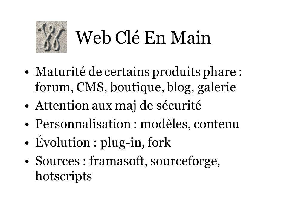 Web Clé En Main Maturité de certains produits phare : forum, CMS, boutique, blog, galerie Attention aux maj de sécurité Personnalisation : modèles, co