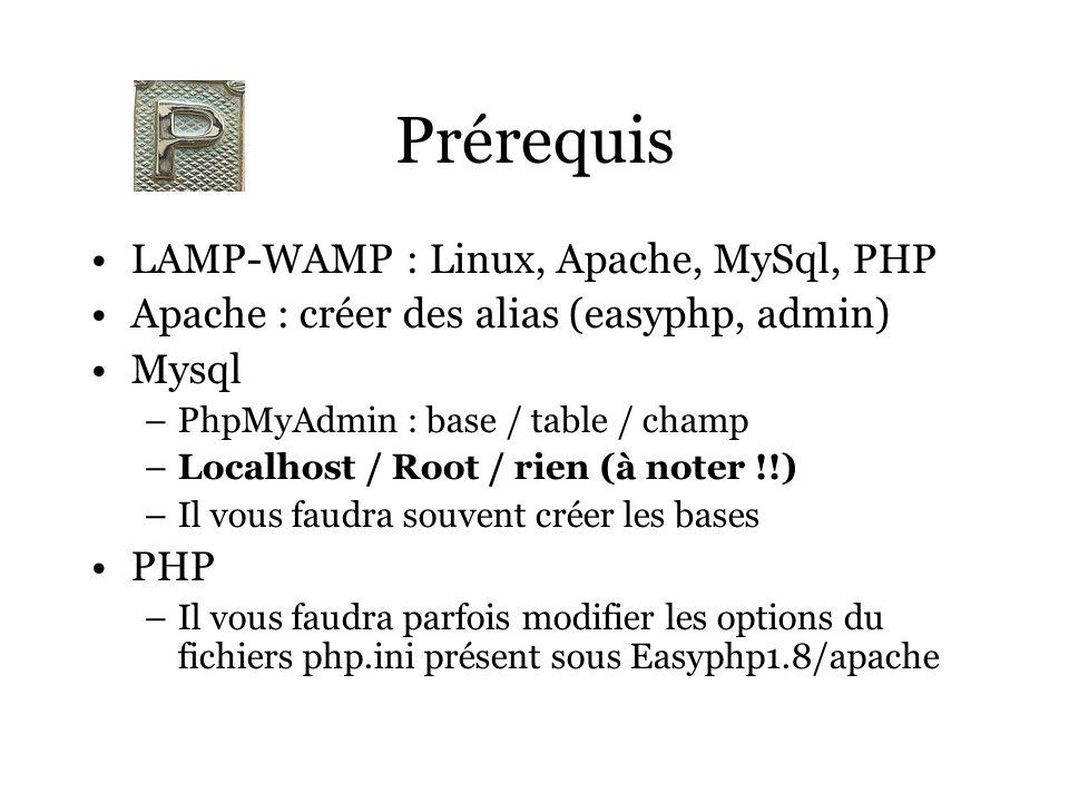 Prérequis LAMP-WAMP : Linux, Apache, MySql, PHP Apache : créer des alias (easyphp, admin) Mysql –PhpMyAdmin : base / table / champ –Localhost / Root / rien (à noter !!) –Il vous faudra souvent créer les bases PHP –Il vous faudra parfois modifier les options du fichiers php.ini présent sous Easyphp1.8/apache