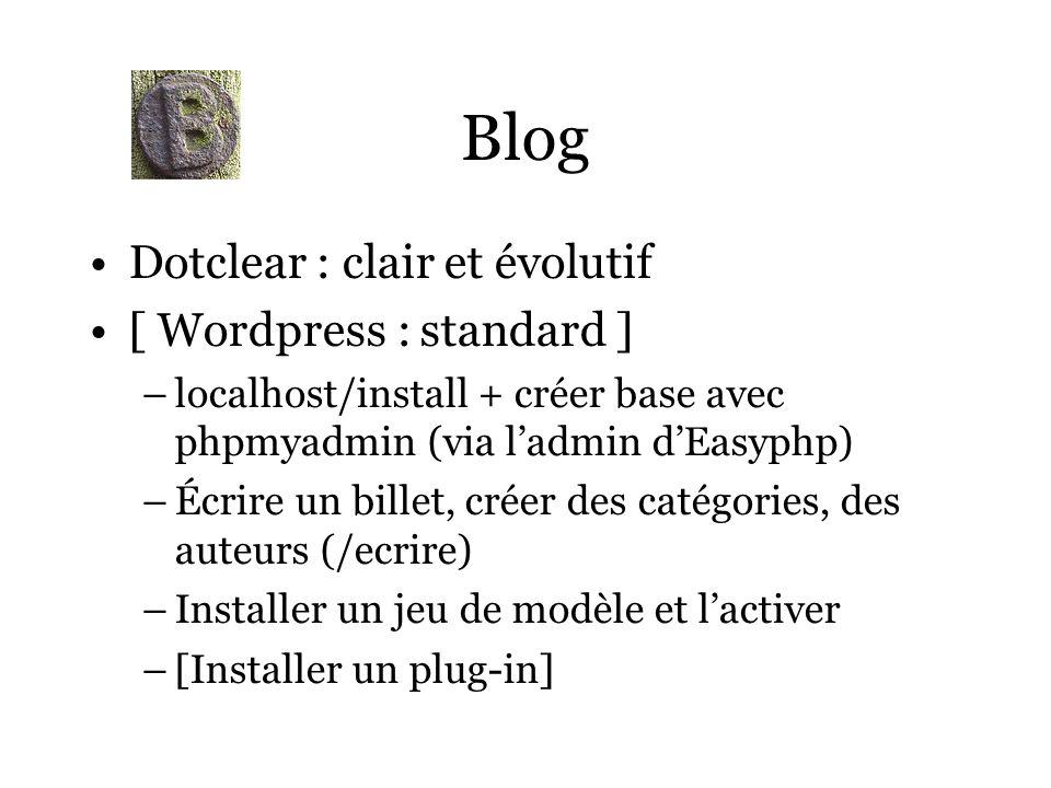Blog Dotclear : clair et évolutif [ Wordpress : standard ] –localhost/install + créer base avec phpmyadmin (via ladmin dEasyphp) –Écrire un billet, créer des catégories, des auteurs (/ecrire) –Installer un jeu de modèle et lactiver –[Installer un plug-in]