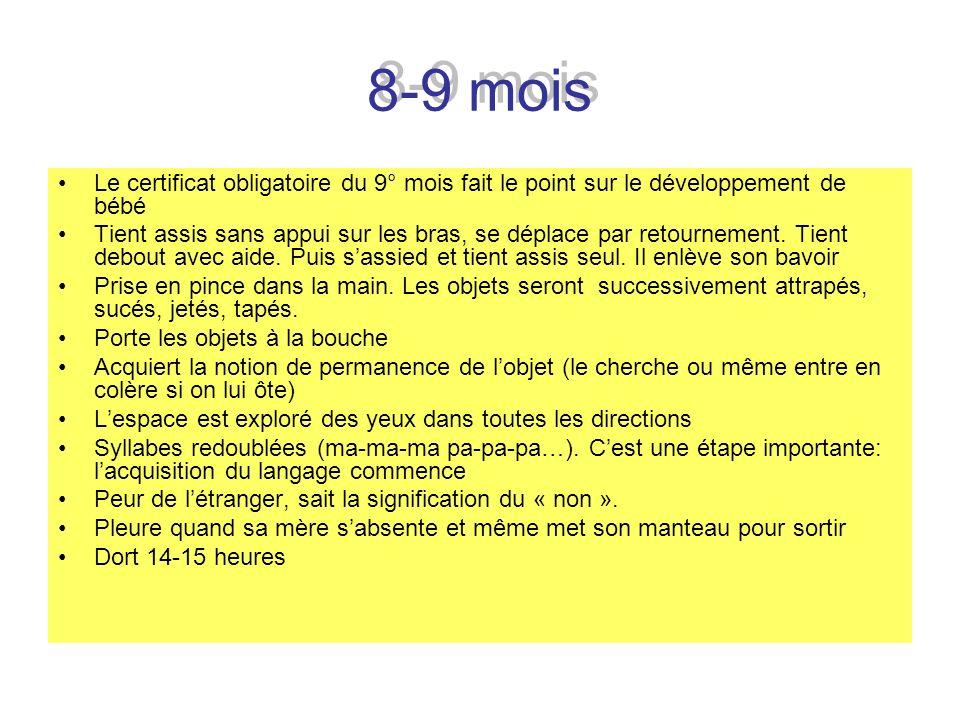 8-9 mois Le certificat obligatoire du 9° mois fait le point sur le développement de bébé Tient assis sans appui sur les bras, se déplace par retournem