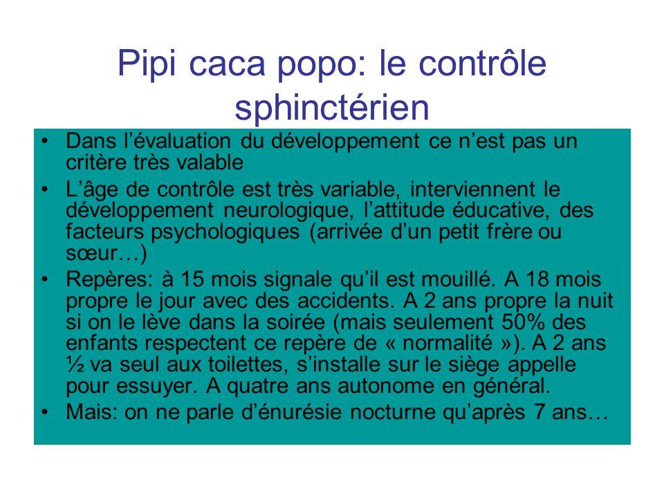 Pipi caca popo: le contrôle sphinctérien Dans lévaluation du développement ce nest pas un critère très valable Lâge de contrôle est très variable, int