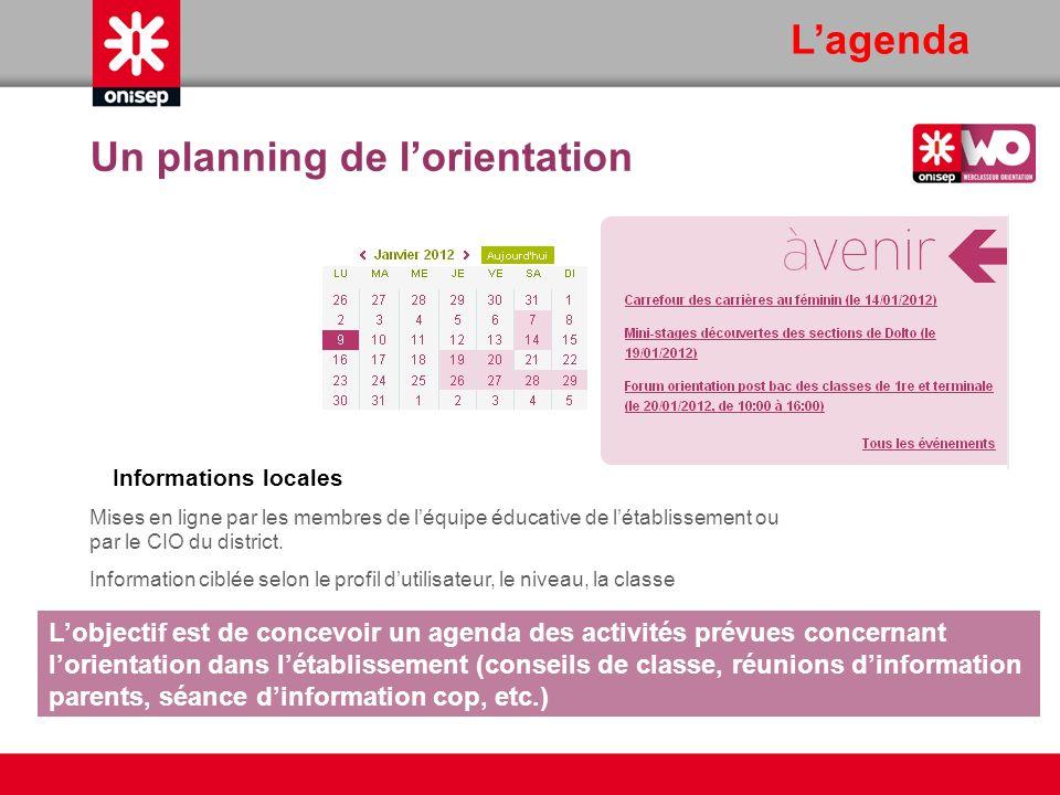 Lagenda Informations locales Mises en ligne par les membres de léquipe éducative de létablissement ou par le CIO du district. Information ciblée selon