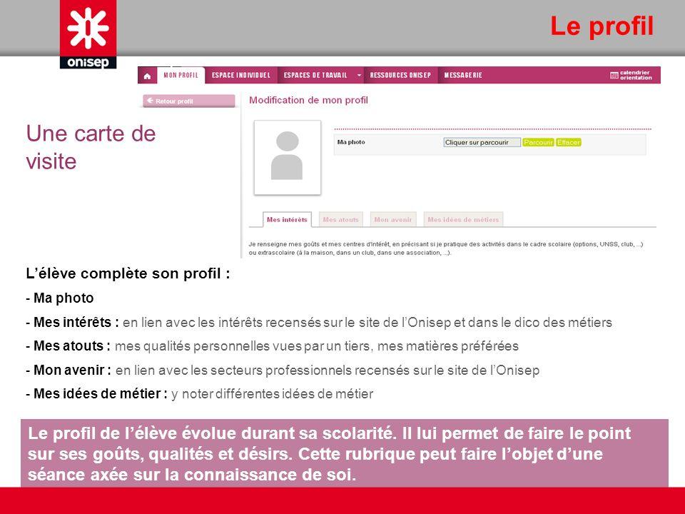 Le profil Lélève complète son profil : - Ma photo - Mes intérêts : en lien avec les intérêts recensés sur le site de lOnisep et dans le dico des métie