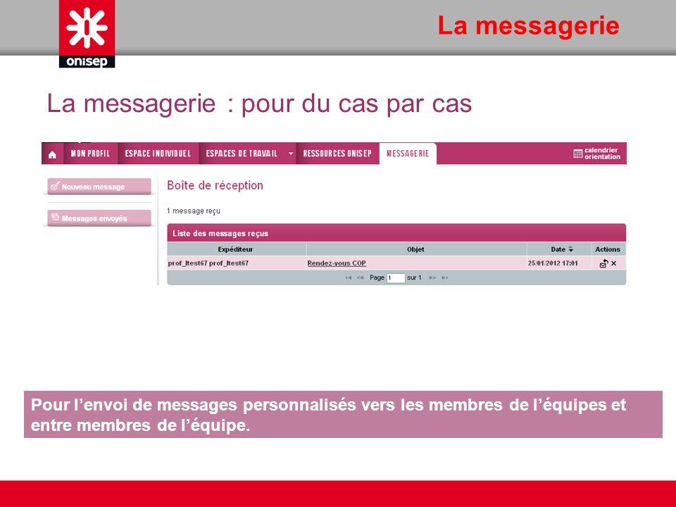 La messagerie Pour lenvoi de messages personnalisés vers les membres de léquipes et entre membres de léquipe. La messagerie : pour du cas par cas