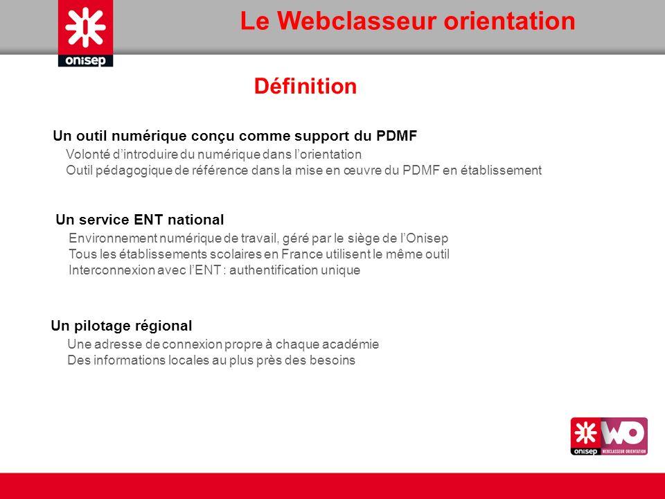 Définition Un outil numérique conçu comme support du PDMF Volonté dintroduire du numérique dans lorientation Outil pédagogique de référence dans la mi