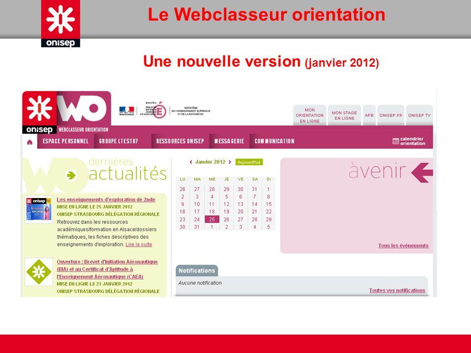 Le Webclasseur orientation Une nouvelle version (janvier 2012)