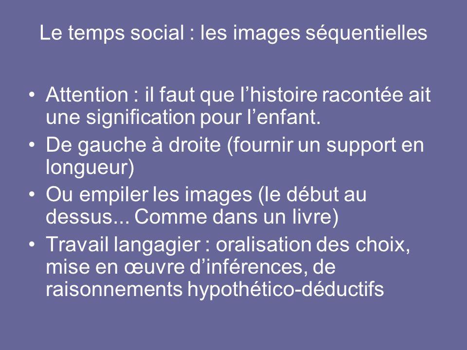 Le temps social : les images séquentielles Attention : il faut que lhistoire racontée ait une signification pour lenfant. De gauche à droite (fournir