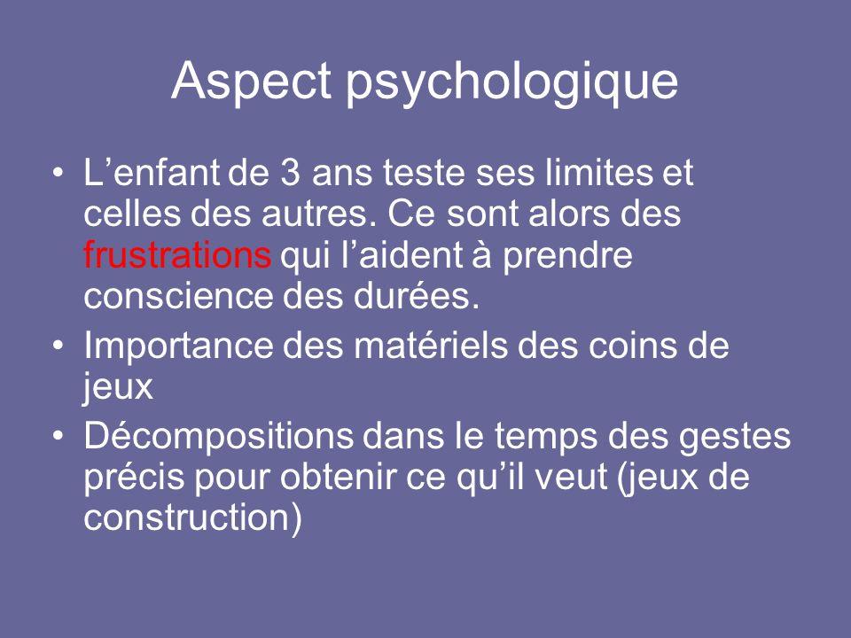 Aspect psychologique Lenfant de 3 ans teste ses limites et celles des autres.