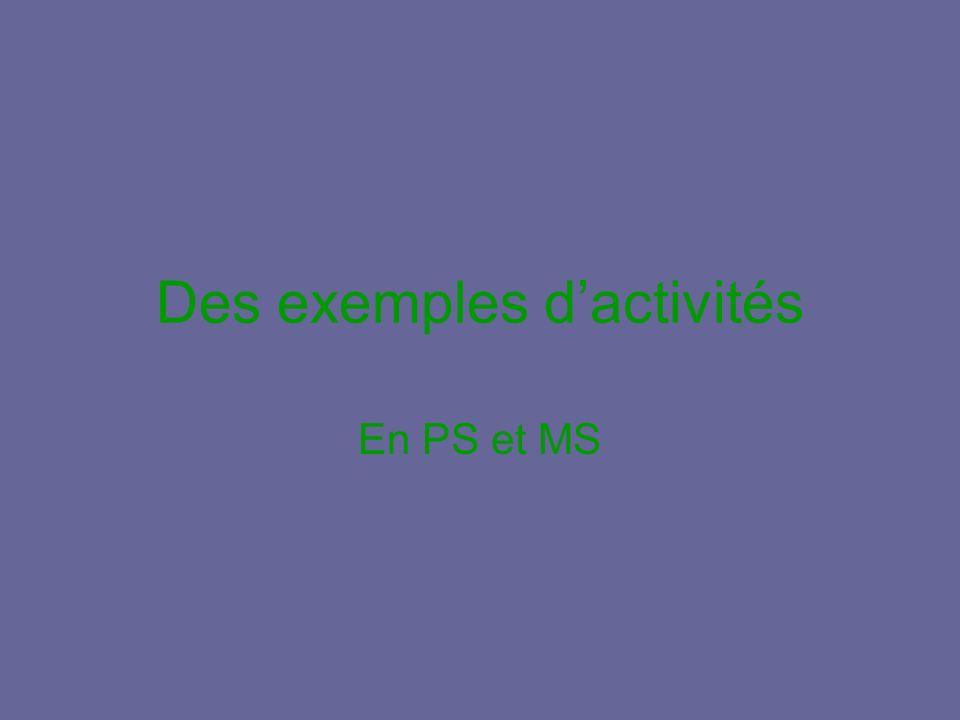 Des exemples dactivités En PS et MS