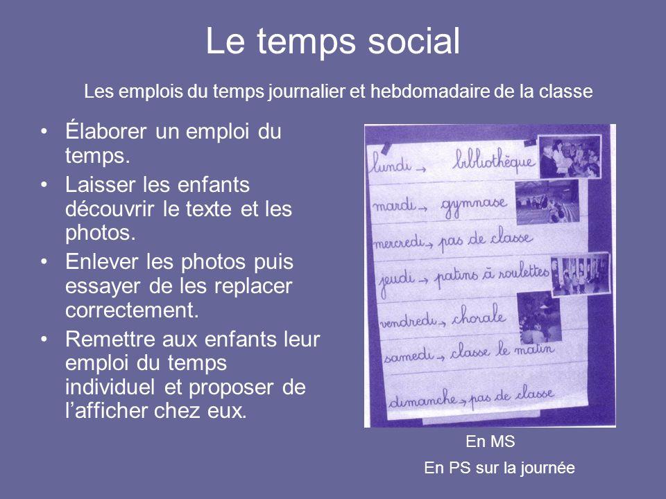 Le temps social Les emplois du temps journalier et hebdomadaire de la classe Élaborer un emploi du temps. Laisser les enfants découvrir le texte et le