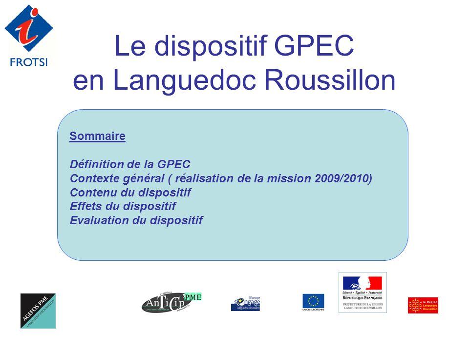 Le dispositif GPEC en Languedoc Roussillon Sommaire Définition de la GPEC Contexte général ( réalisation de la mission 2009/2010) Contenu du dispositi
