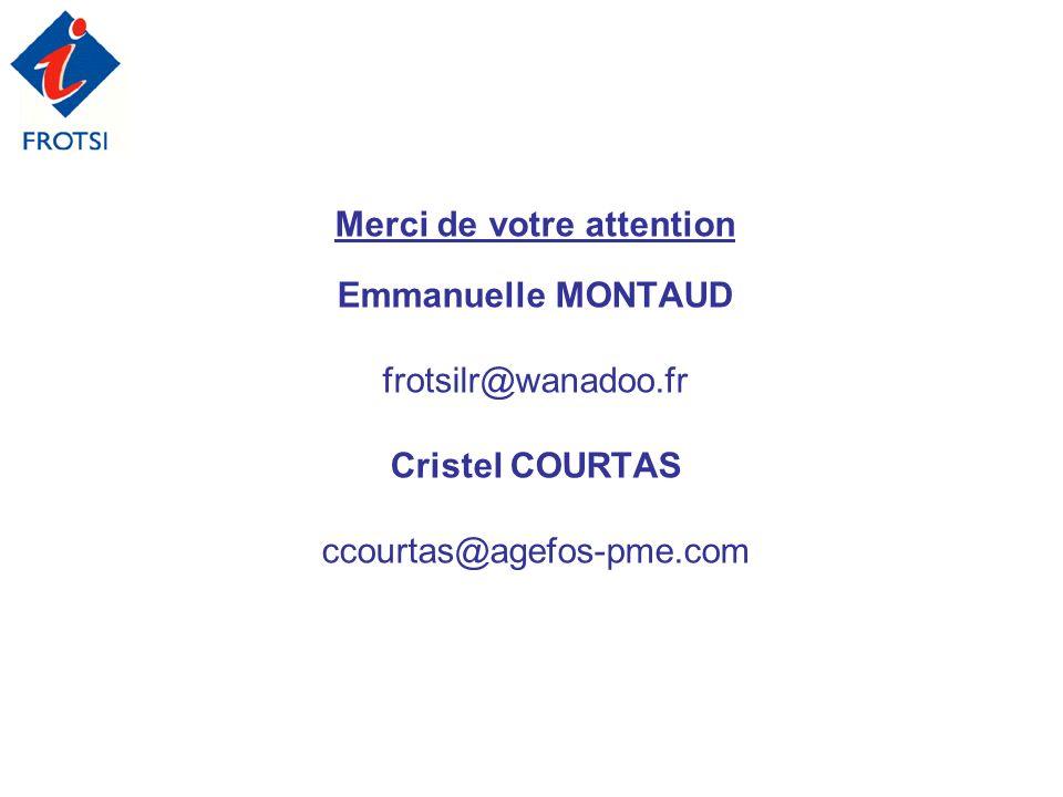 Merci de votre attention Emmanuelle MONTAUD frotsilr@wanadoo.fr Cristel COURTAS ccourtas@agefos-pme.com