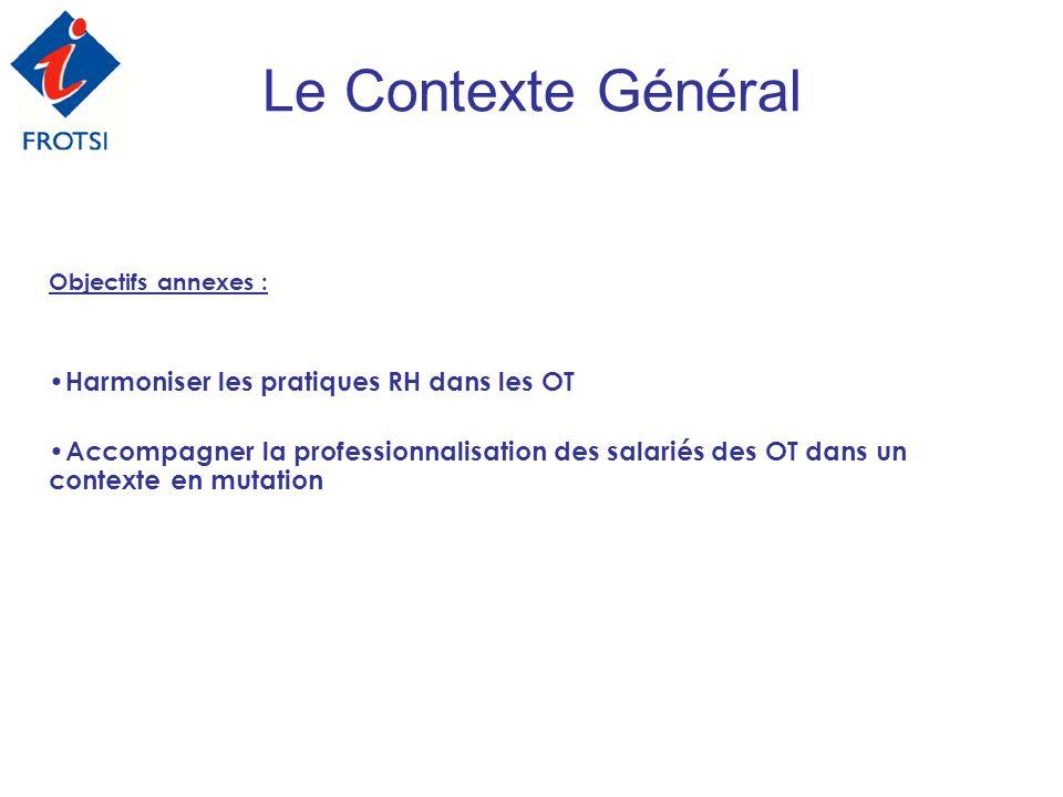 Objectifs annexes : Harmoniser les pratiques RH dans les OT Accompagner la professionnalisation des salariés des OT dans un contexte en mutation Le Co