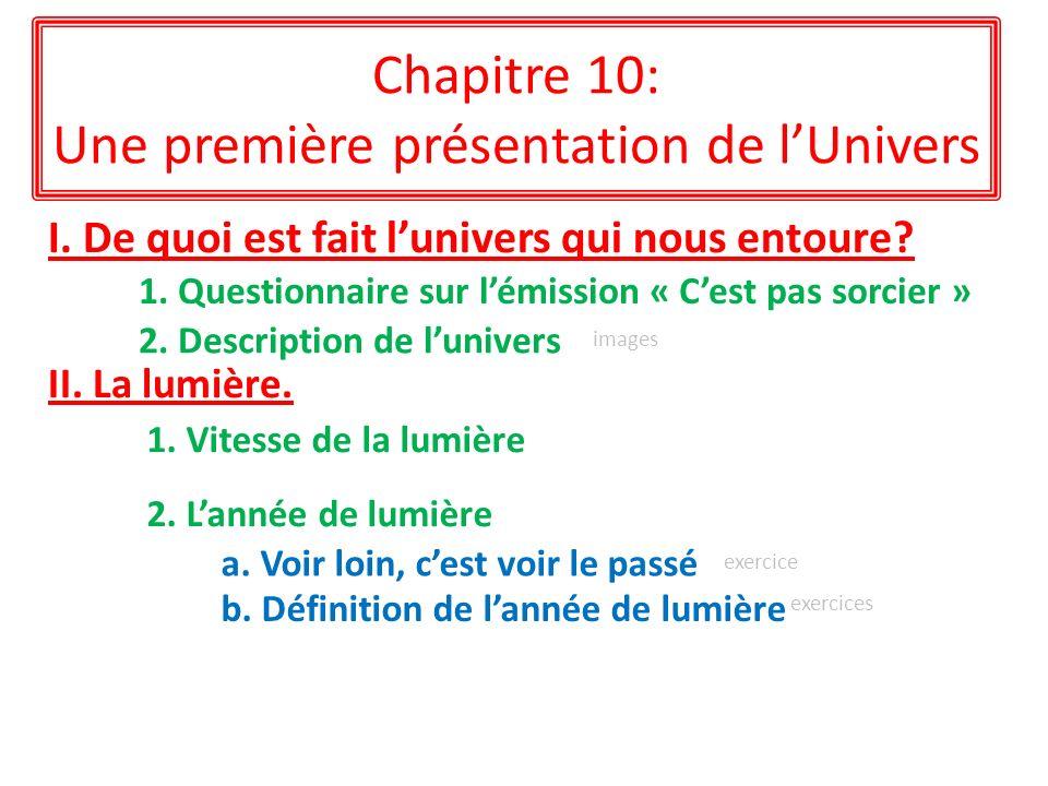 Chapitre 10: Une première présentation de lUnivers I. De quoi est fait lunivers qui nous entoure? II. La lumière. 1. Questionnaire sur lémission « Ces