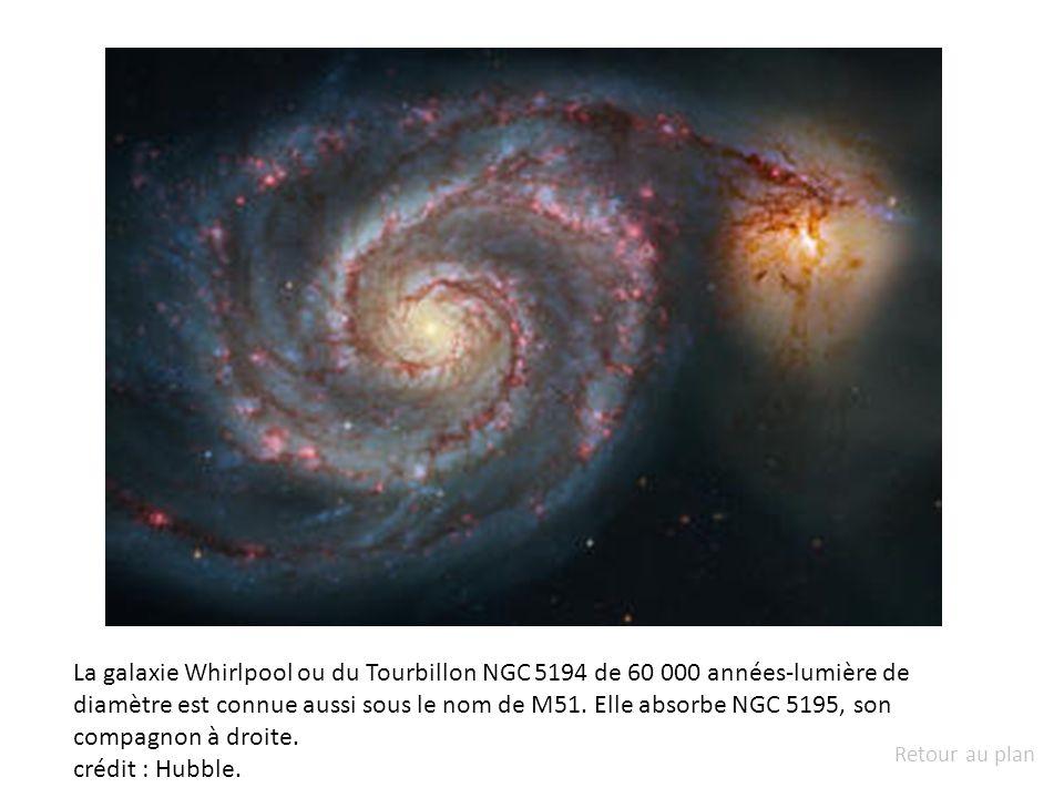 La galaxie Whirlpool ou du Tourbillon NGC 5194 de 60 000 années-lumière de diamètre est connue aussi sous le nom de M51. Elle absorbe NGC 5195, son co