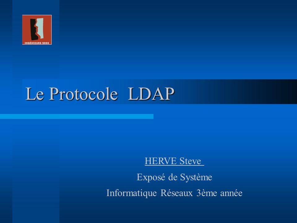 Le Protocole LDAP HERVE Steve Exposé de Système Informatique Réseaux 3ème année