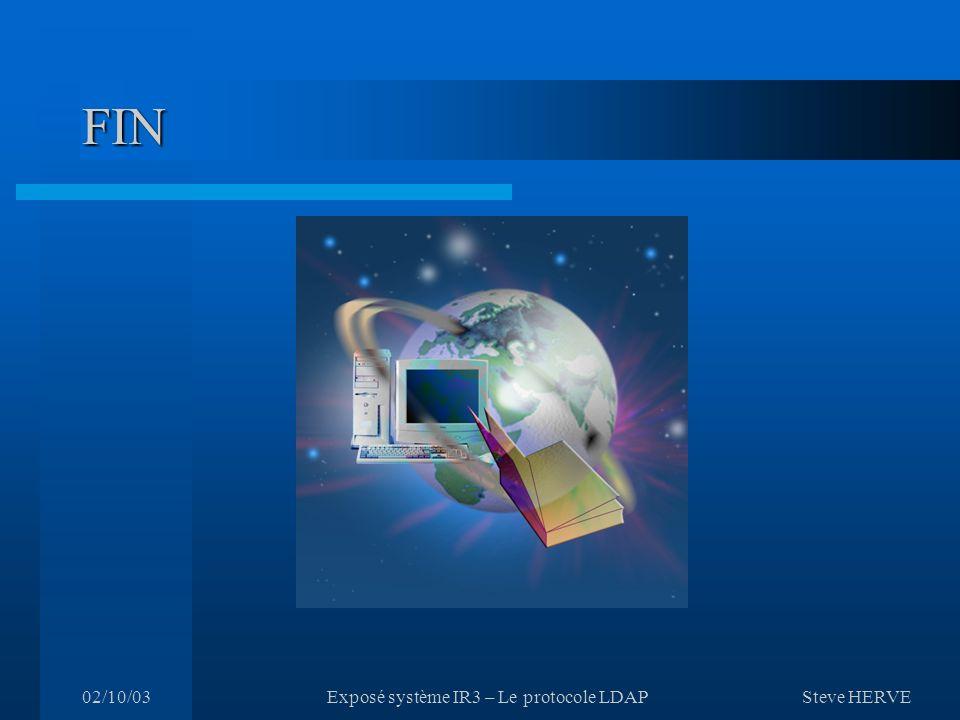 Steve HERVE 02/10/03Exposé système IR3 – Le protocole LDAP FIN