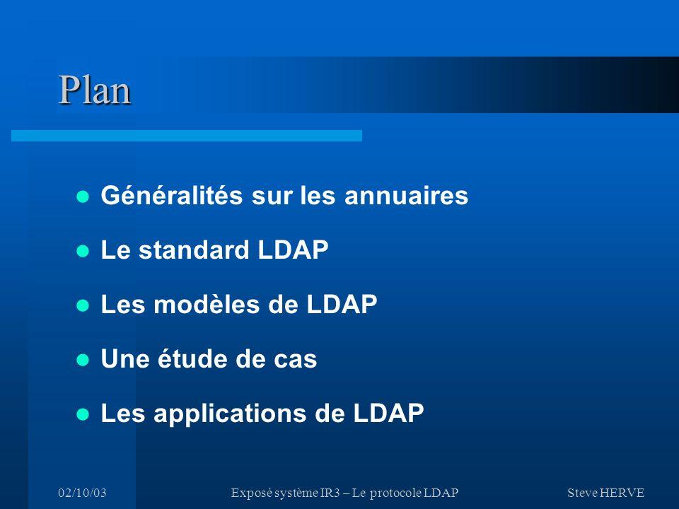 Steve HERVE 02/10/03Exposé système IR3 – Le protocole LDAP Plan Généralités sur les annuaires Le standard LDAP Les modèles de LDAP Une étude de cas Les applications de LDAP