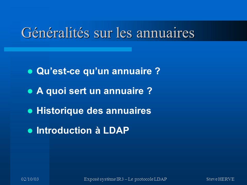 Steve HERVE 02/10/03Exposé système IR3 – Le protocole LDAP Généralités sur les annuaires Quest-ce quun annuaire .