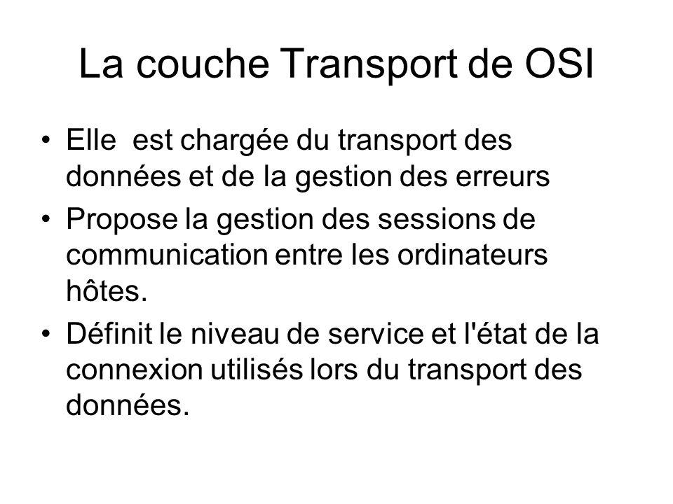 La couche Transport de OSI Elle est chargée du transport des données et de la gestion des erreurs Propose la gestion des sessions de communication ent