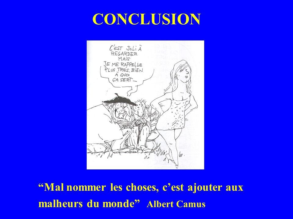 CONCLUSION Mal nommer les choses, cest ajouter aux malheurs du monde Albert Camus