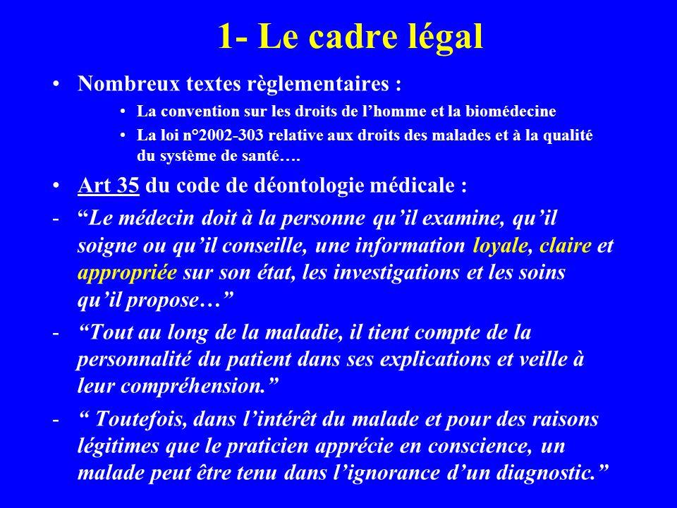 1- Le cadre légal Nombreux textes règlementaires : La convention sur les droits de lhomme et la biomédecine La loi n°2002-303 relative aux droits des