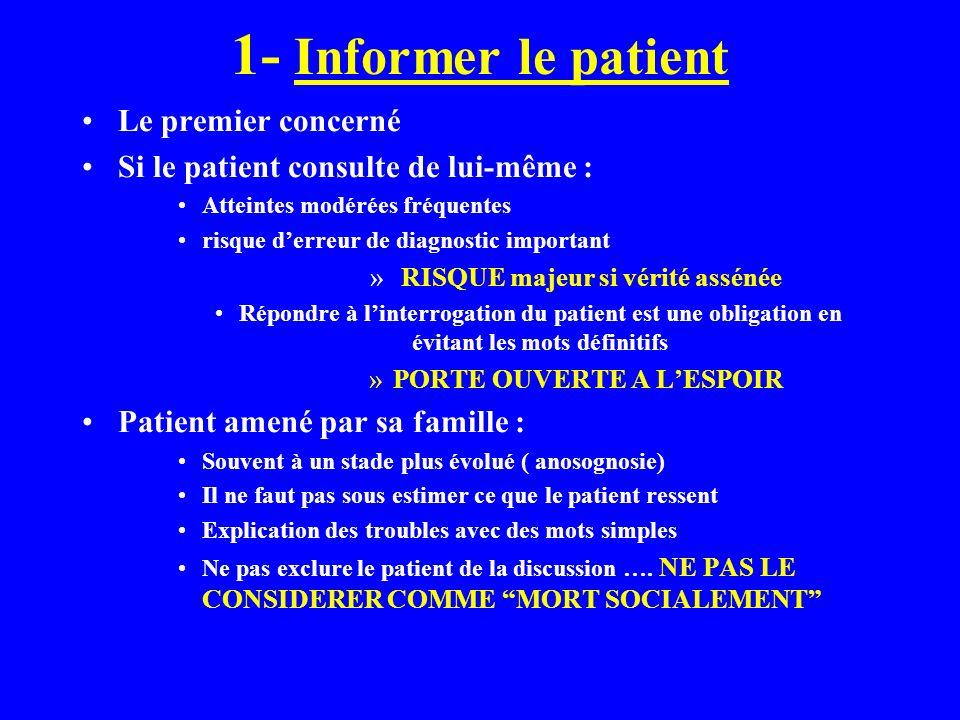 1- Informer le patient Le premier concerné Si le patient consulte de lui-même : Atteintes modérées fréquentes risque derreur de diagnostic important »