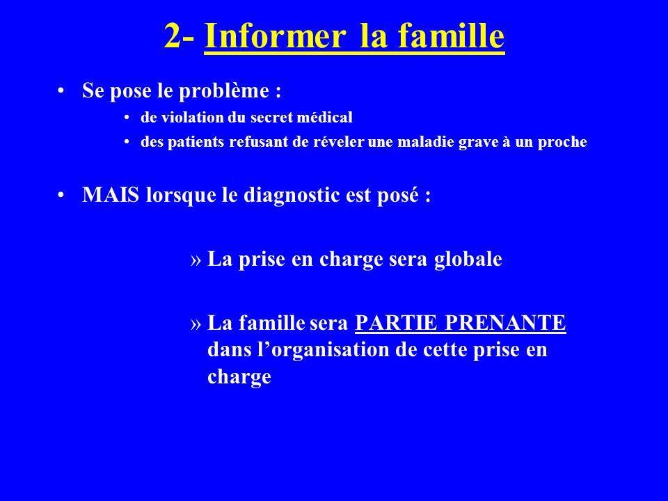 2- Informer la famille Se pose le problème : de violation du secret médical des patients refusant de réveler une maladie grave à un proche MAIS lorsqu