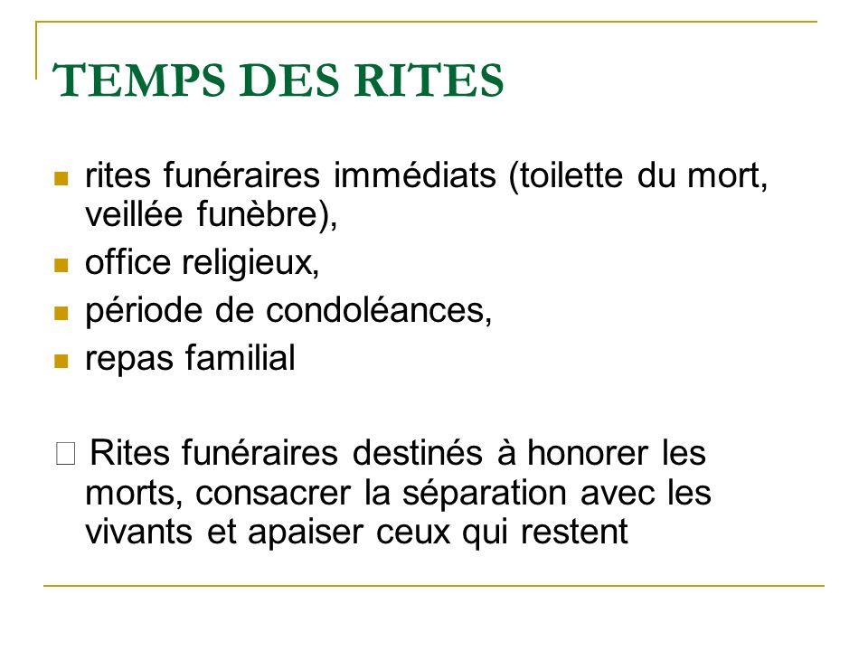 TEMPS DES RITES rites funéraires immédiats (toilette du mort, veillée funèbre), office religieux, période de condoléances, repas familial Rites funéra