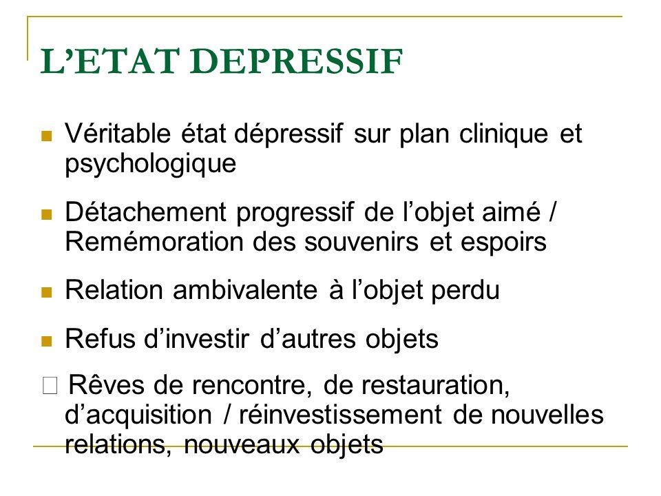 LETAT DEPRESSIF Véritable état dépressif sur plan clinique et psychologique Détachement progressif de lobjet aimé / Remémoration des souvenirs et espo